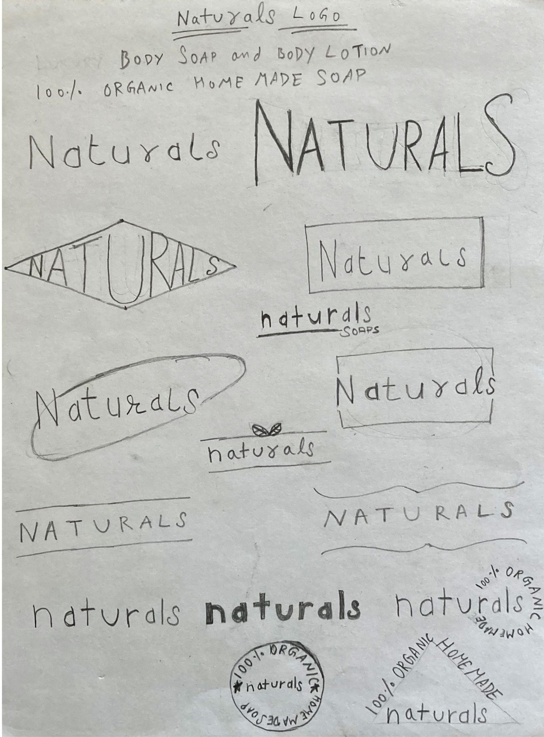 Naturals Soap Logo Sketches